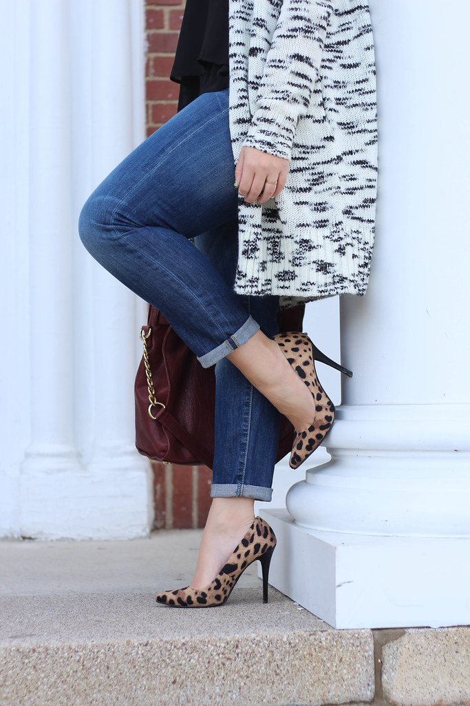 Loft Coatigan Boyfriend Jeans Leopard Pumps