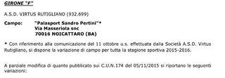 Rutigliano-Comunicato Ufficiale - Divisione C5