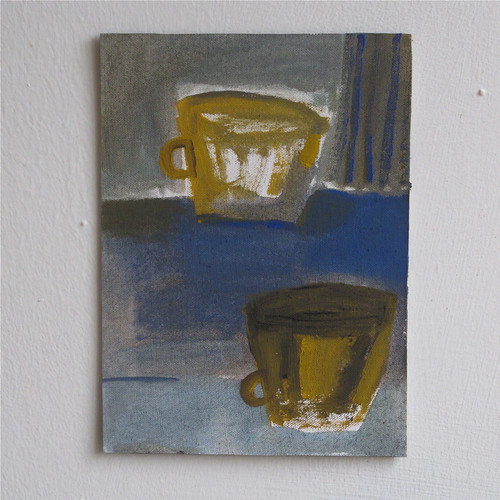 ochre cups with blue