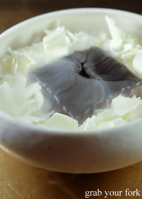 Cherry jam lamington with frozen coconut curls at Bennelong Restaurant, Sydney food blog restaurant review