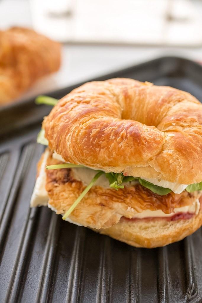 croissant panino on grill pan