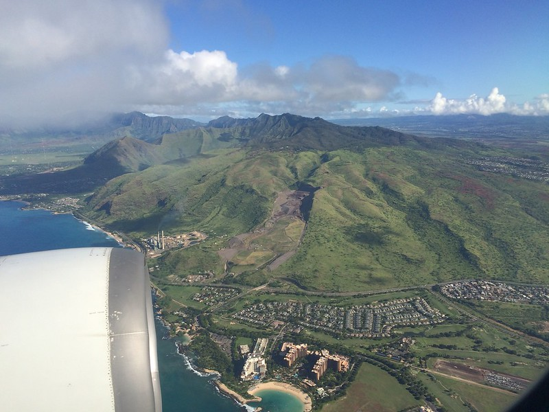 About to land in O'ahu.