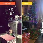 Surrounded by presents one year apart. by bartlewife