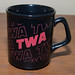 eBay Set - Vintage TWA Airline Red Letter Logo Black Ceramic Coffee Cup Mug 2