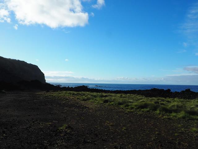 Sur cette partie de l'île, l'eau est chaude, même en hiver !
