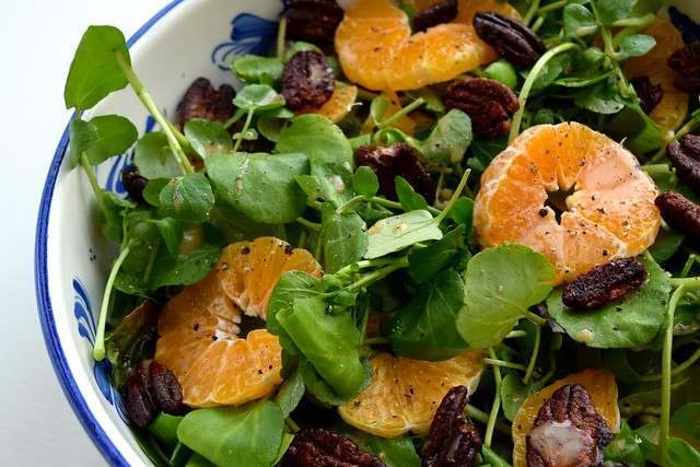Watercress, Clementine and Festive Spiced Pecan Salad | www.rachelphipps.com @rachelphipps