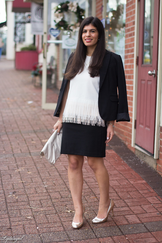 white fringe hem top, black skirt, silver pumps.jpg