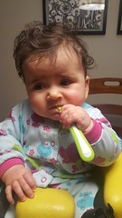 Chewing on her spoon