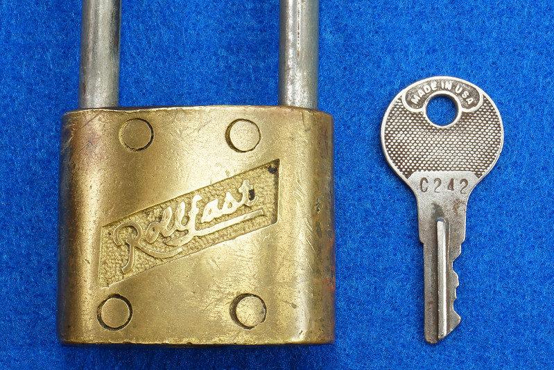 RD14743 Vintage Rollfast Bicycle Bike Lock Brass Body Long Hasp with Key Padlock DSC06260