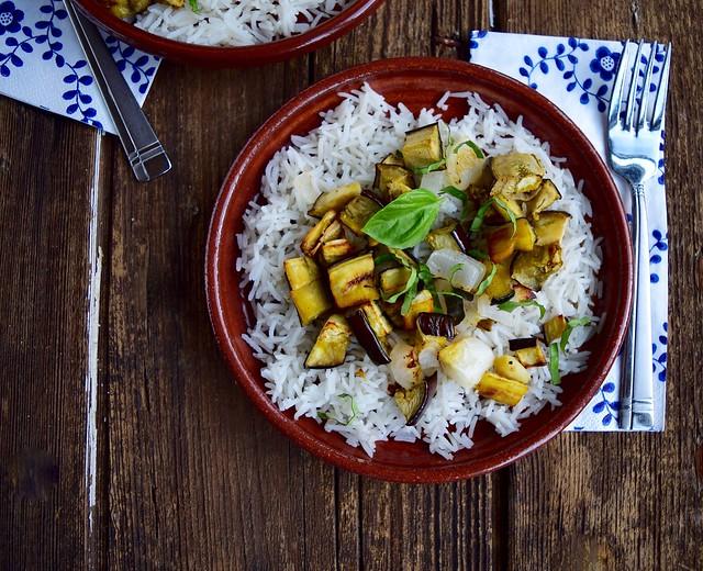 Roasted Eggplant Rice Bowl