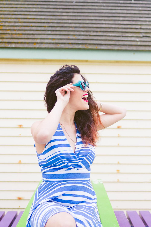 blue retro style stripe skater dress pin up