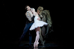 Matthew Golding as Prince Siegfried, Natalia Osipova as Odette and Gary Avis as Von Rothbart in Swan Lake, The Royal Ballet