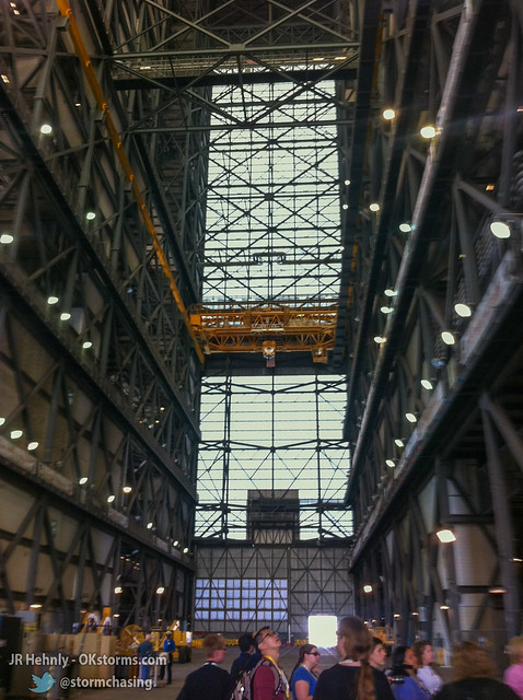 Thu, 11/01/2012 - 13:06 - Inside NASA's massive Vehicle Assembly Building (VAB), 526 feet (160.3 m) tall. This is where the Apollo Saturn V rockets were assembled, as well as the Space Shuttle. The upcoming Space Launch System (SLS) rockets will be assembled here. - November 01, 2012 1:06:15 PM - Titusville, Florida (28.5854,-80.6507)