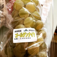 golden niagara grapes have a musty green-yellow color but smell super sweet♡we'll try these tomorrow with breakfast.  #grapes #goldenniagara #japan #ゴールデンナイヤガラ #葡萄