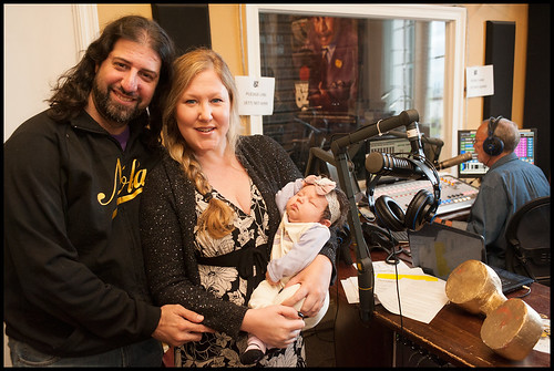 Johnny Woodstock and Tiffany with their baby, at WWOZ Fall Fund Drive 2015 day 10. Photo by Ryan Hodgson-Rigsbee - www.rhrPhoto.com