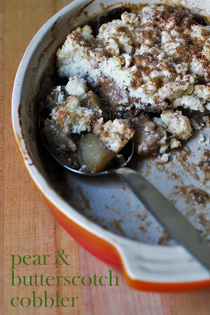 pear and butterscotch cobbler