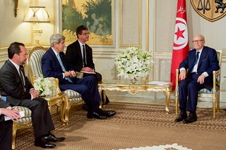 Secretary Kerry Sits with President Essebsi at the Presidential Palace in Tunis