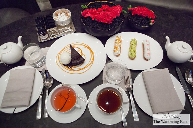 Our first portion of desserts - Espresso Boca Negra Cake and Éclair Trio