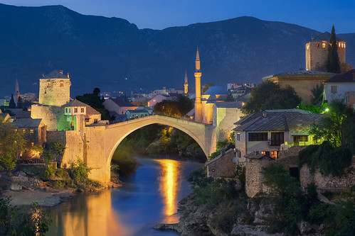 bridge sunset vacation sunrise river lights europe o mostar bosnia mosque herzegovina ba traveling oldtown bosniaandherzegovina federacijabosneihercegovine