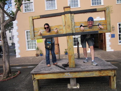 Mei and Dan in the stocks.