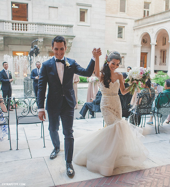 wedding recessional lazaro lace gown boston library