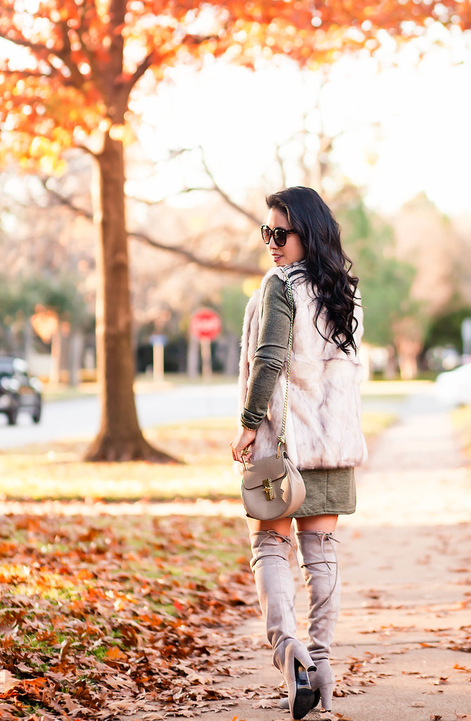cute & little blog | petite fashion | boohoo fur vest, boohoo olive shift sweater dress, chloe drew bag, stuart weitzman highland boots | fall outfit