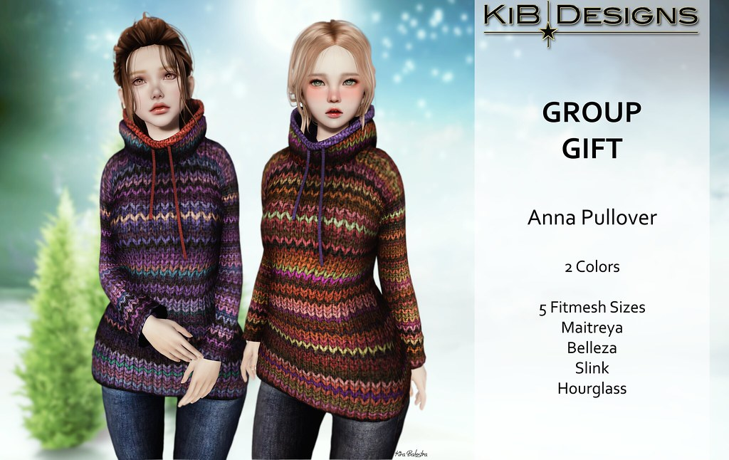 KiB Designs - Anna Pullover  GROUP GIFT - DECEMBER - SecondLifeHub.com