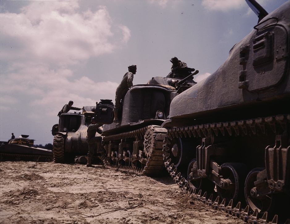 M-3 and M4 tank company at bivouac, Ft. Knox, KY, 1942