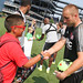 Brad Knighton greets fan at Revs Training