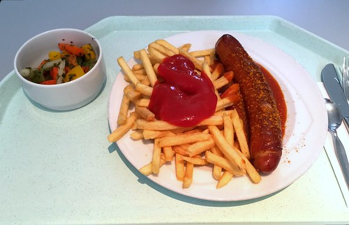 Curried fried sausage with french fries / Currywurst mit Pommes Frites