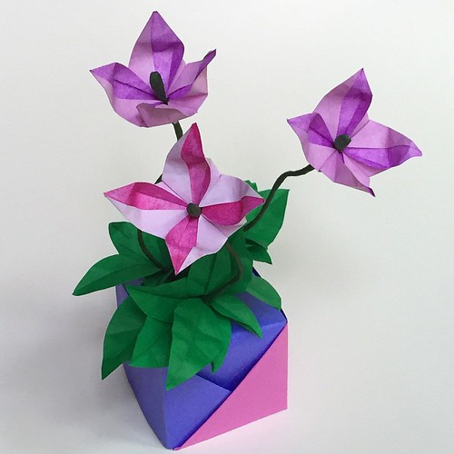 Purple and Pink Origami Flowers and Vase