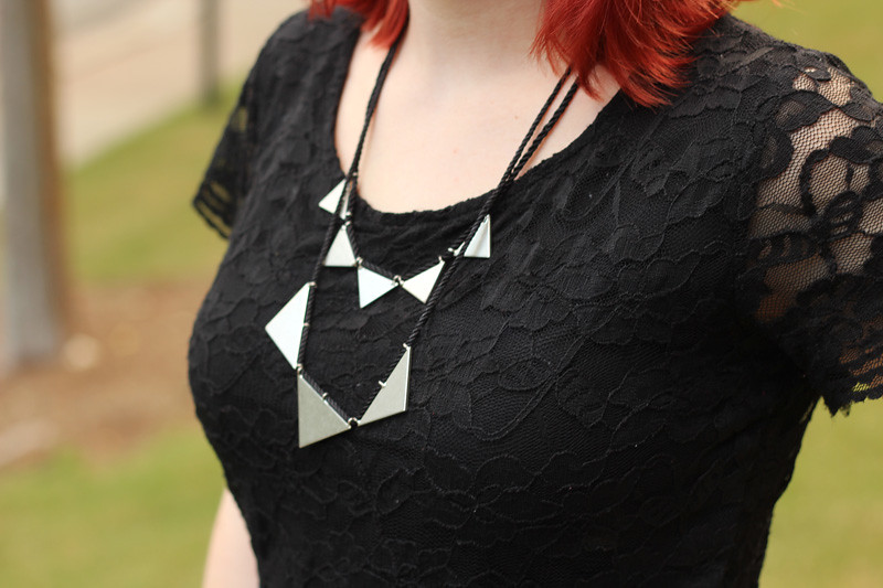 Modcloth Silver Triangles Necklace with a Black Lace H&M Shirt
