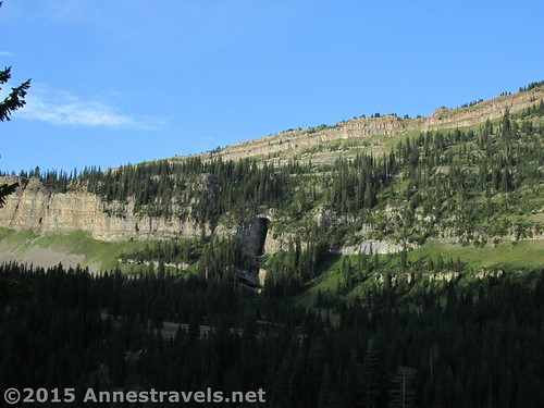 An early view of the cave across Darby Canyon, Jedidiah Smith Wilderness Area, Wyoming
