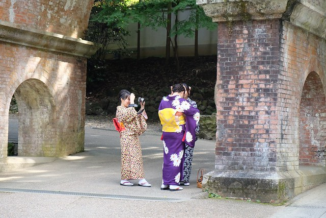 Japanese girls under the aquaduct at Nanzenji Temple