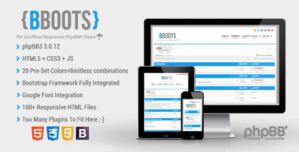 ThemeForest BBOOTS v3.0.3 - HTML5/CSS3 Fully Responsive PhpBB3 Theme
