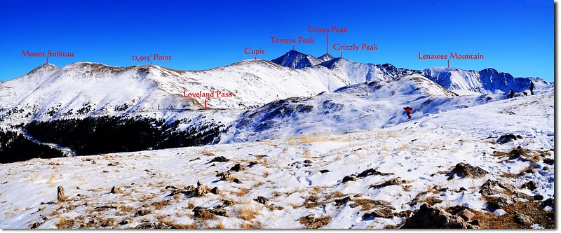 Overlooking east onto Loveland Pass East Ridge from 12,479' Point 1-1