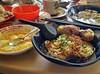 大眾茶餐廳 Tai Chiang Coffee Shop in Kulai Johor Bahru. Dry Noodles with Niangdoufu and halfboiled eggs and Kopi
