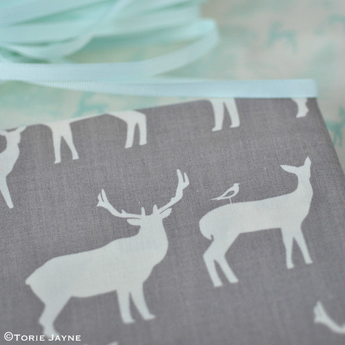 Stag & deer silhouette fabric