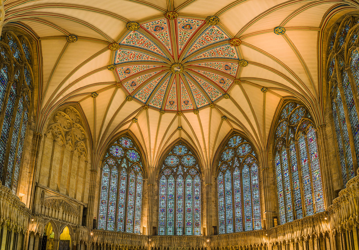 The Chapter House ceiling and stained glass. Credit David Iliff