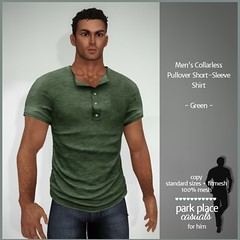 [PP Casuals] Men's Collarless Pullover Short Sleeve Shirt - Green