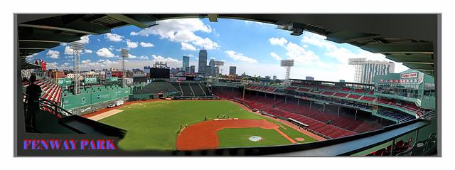 Fenway Park With Boston Skyline