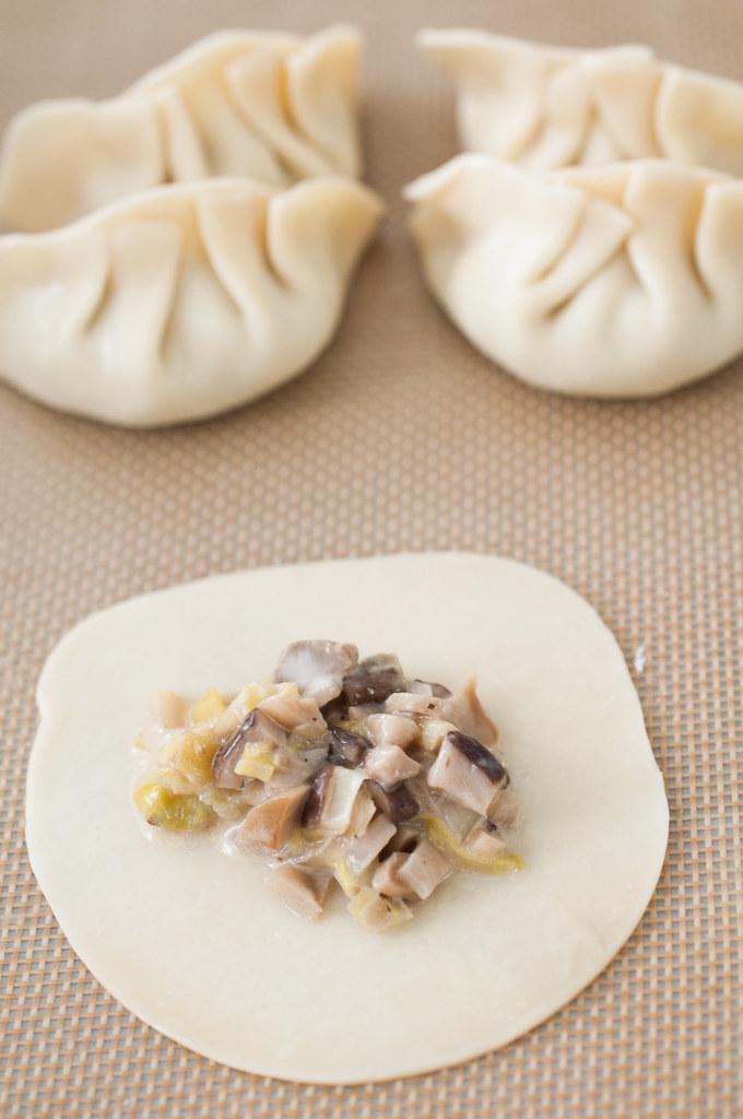 Easy mushroom leek Chinese dumplings. Deliciously savory and vegetarian, too! Step-by-step folding tutorial plus three cooking methods!