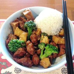 General Tso's Tofu and Chick'n with broccoli and rice at Spiz. I'm not crazy about the mock meats at Spiz... But if I can get this made with just tofu, it may become my favorite dish here! General Tso Tofu has been my Chinese food staple since my first we