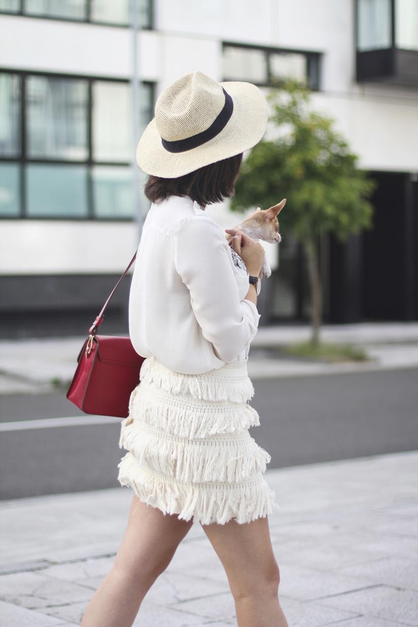 falda flecos beige como combinar myblueberrynightsblog streetstyle