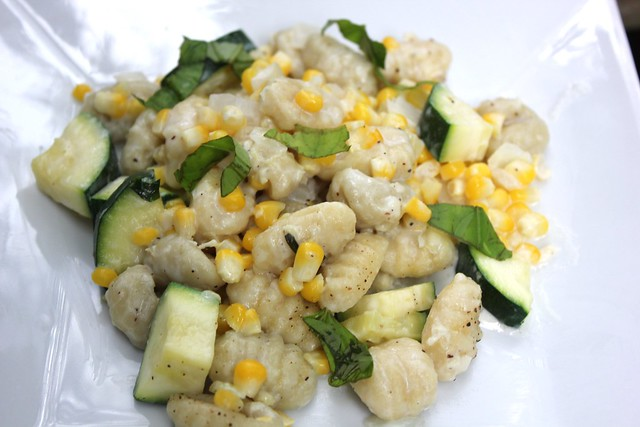Gnocchi with Zucchini, Sweet Corn and Basil
