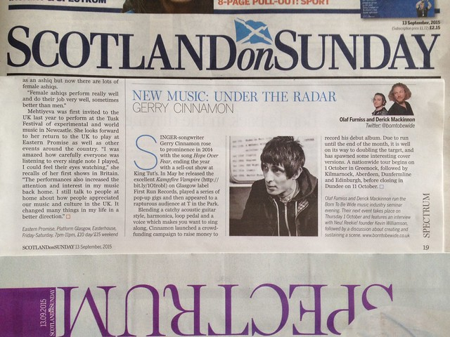 Olaf Furniss and Derick Mackinnon Scotland On Sunday, Spectrum Magazine, 13 September 2015, Gerry Cinnamon