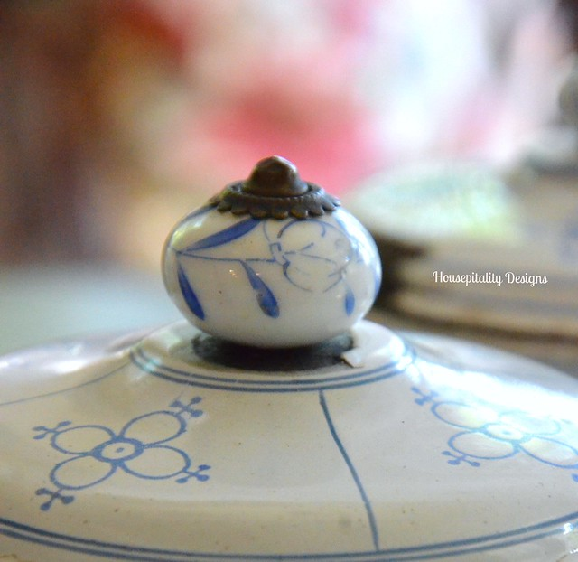 Antique French Enamelware Canister Porcelain Knob - Housepitality Designs