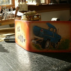 #1955gasser #55chevy #leather #wallets #acrossleather #handmade #cheetahtires #straightfrontaxle