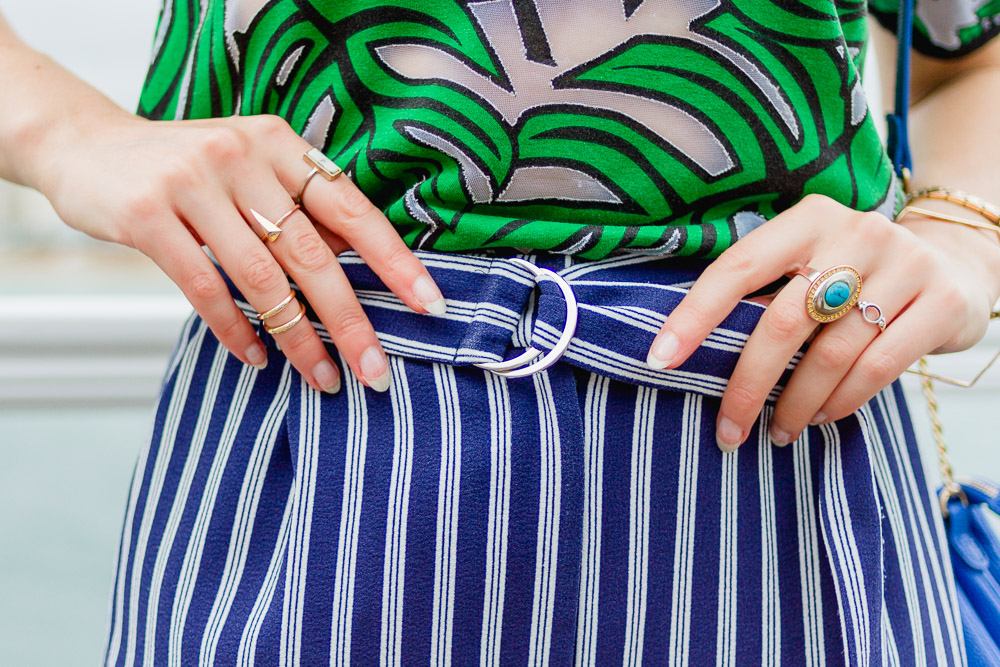 Nautical blue and white striped trousers