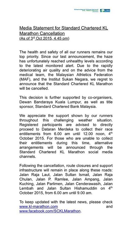 Standard Chartered KL Marathon 2015 media statement